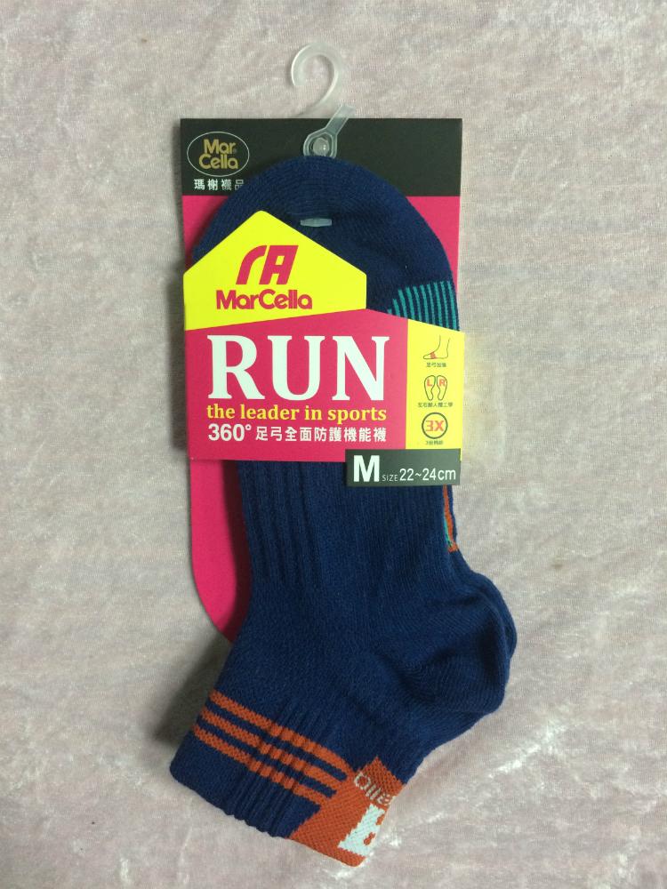 Mar cella 瑪榭 360度足弓全面防護機能襪 2/1高 深藍色 女襪 M 22~24cm 台灣製