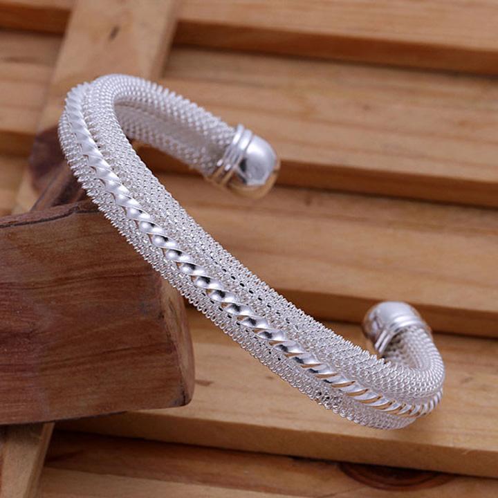 Missyoyo  925純銀紐中網時尚造型手鐲飾品【Q02YB021】-預購