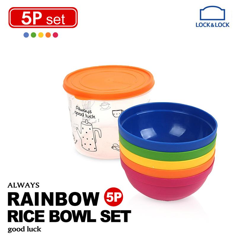【樂扣樂扣】P&Q彩虹疊疊樂飯碗5件組