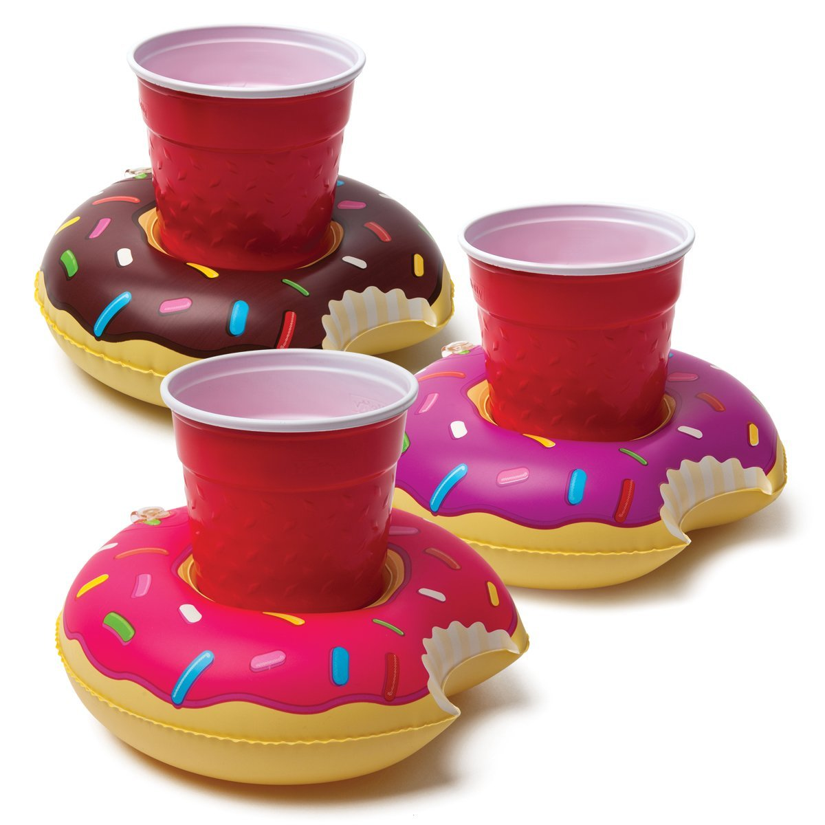 歐美 甜甜圈 水上充氣飲料啤酒杯座 兩個一組