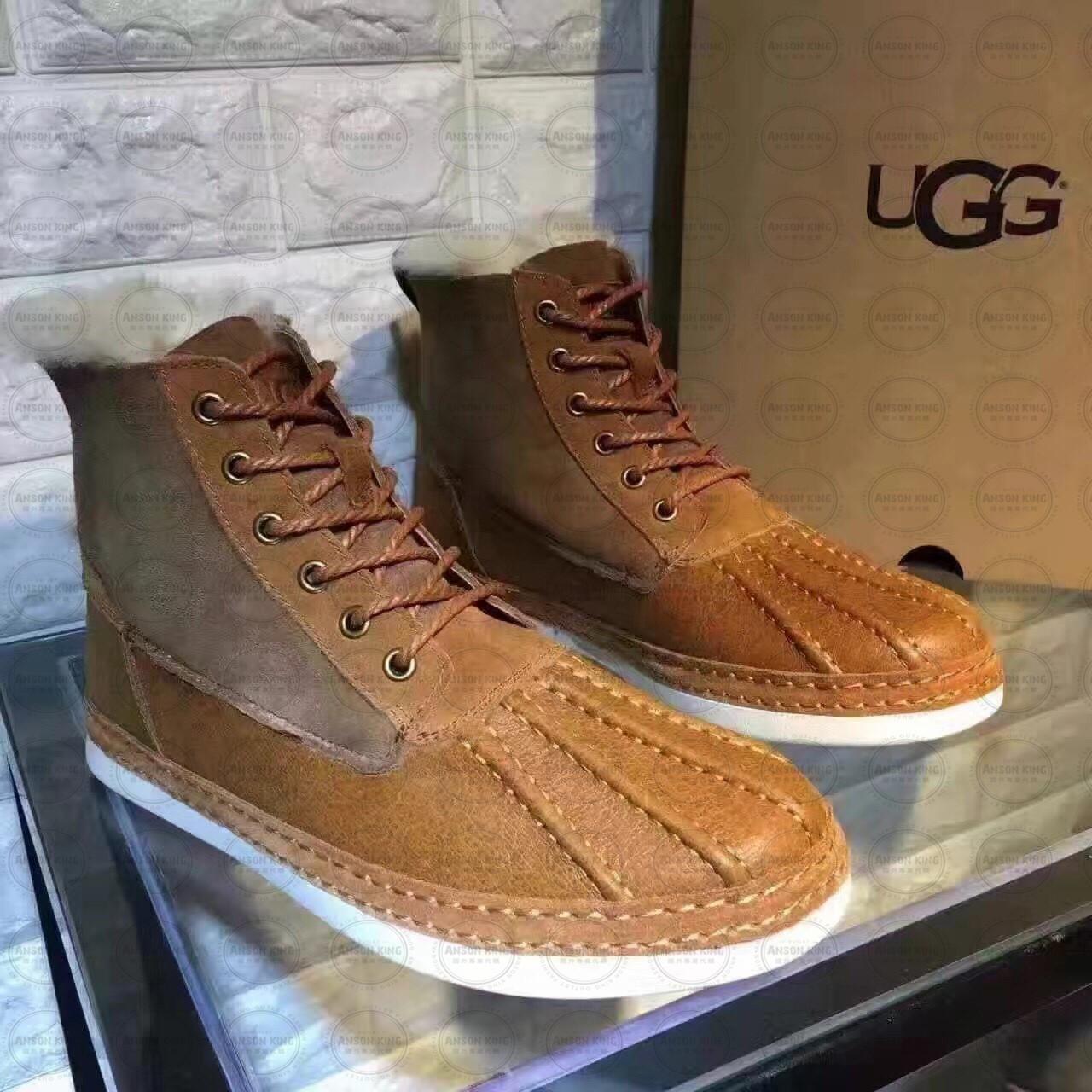 OUTLET正品代購 澳洲 UGG 冬季男款貝殼頭馬丁靴 短靴 保暖 真皮羊皮毛 雪靴 短靴 栗色