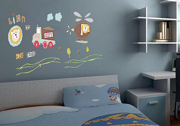 BO雜貨【YP1553】可移動壁貼 牆貼 背景貼 兒童房設計佈置布置 兒童璧貼 獅子直升機