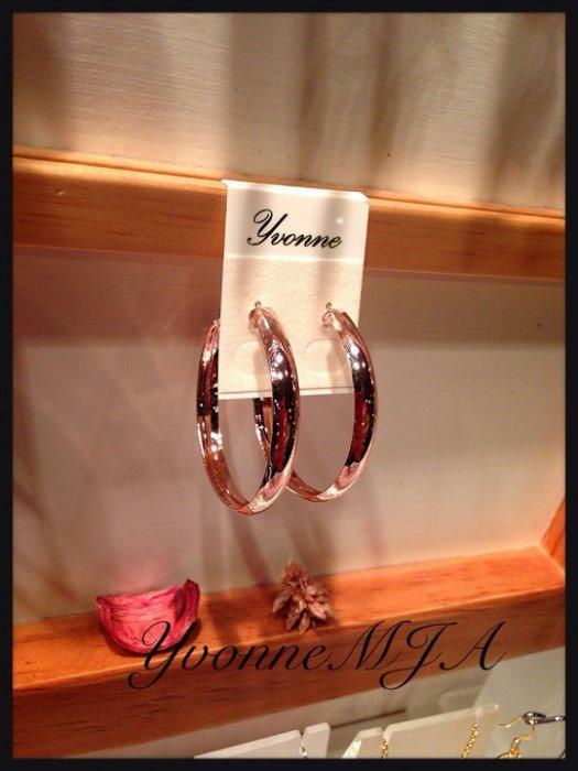 *Yvonne MJA珠寶首飾品*簡約設計感時尚亮澤玫瑰金性感大圈圈造型耳環(可改夾式)