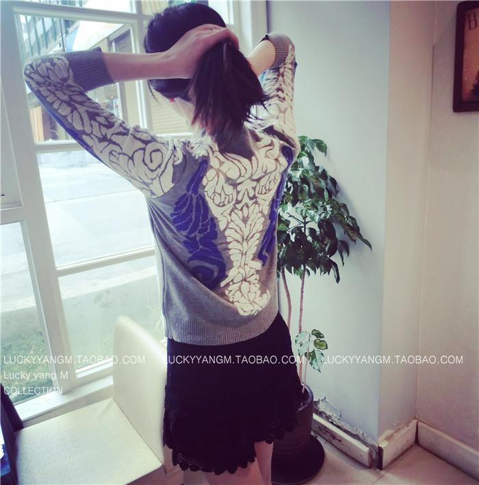 【清倉】義大利精品同款 精心的手繪花紋圖案的羊毛衣-Lucky洋M