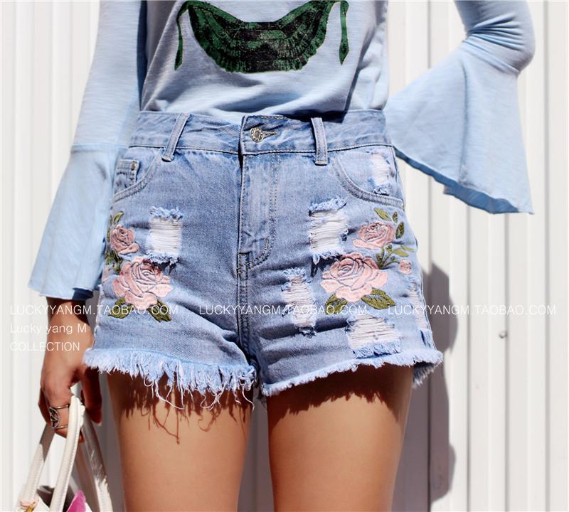 (XS~L) 韓版 獨家 超百搭 人手一件大長腿刺繡高腰牛仔短褲 私服分享