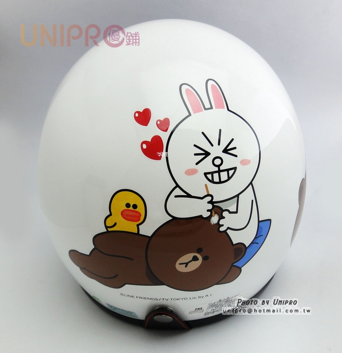 【UNIPRO】LINE FRIENDS 3/4 安全帽 騎士帽 附贈 抗UV PC鏡片 熊大 兔兔 掏耳朵 莎莉 白