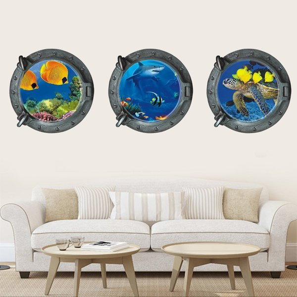 BO雜貨【YV0023】海底世界 3D立體創意潛水艇船窗 居家裝潢佈置 壁貼