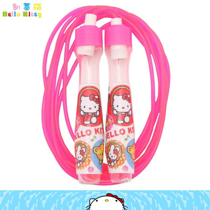 大田倉 日本進口正版Hello Kitty 跳繩 螢光粉 動物音符 健身 運動 凱蒂貓  308320