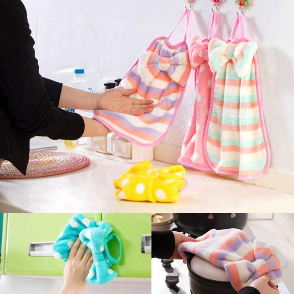 珊瑚绒蝴蝶结造型 吸水性強不掉毛 掛式擦手巾/ 厨房抹布  (1入)【巴布百貨】