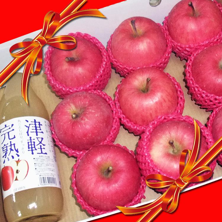 ✿仲菁✿蜜蘋果9入+津輕完熟林檎蘋果汁一瓶精緻禮盒-免運費