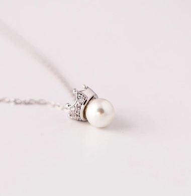 Tokyo Alice 925純銀皇冠珍珠項鍊,貝珠項鏈飾品首飾銀飾甜美鎖骨鏈(s0000105)
