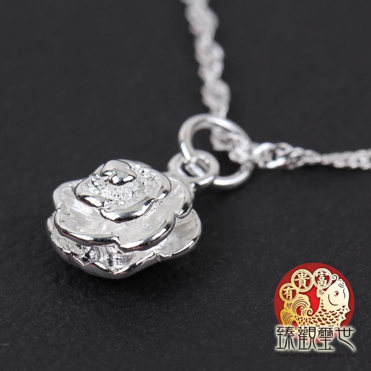 39折再折88 項鍊 鍍925純銀玫瑰花項鍊 含開光  臻觀璽世 IS3499