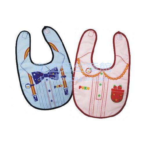 ★衛立兒生活館★藍色企鵝PUKU禮服造型雙層圍兜-藍色/粉色
