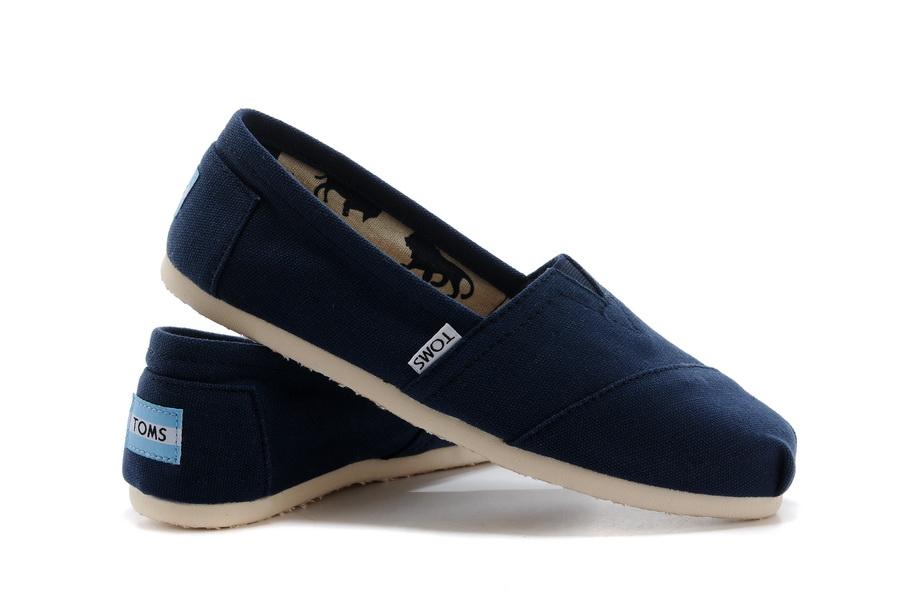 【TOMS】藍色素面基本款休閒鞋  Navy Canvas Women's Classics
