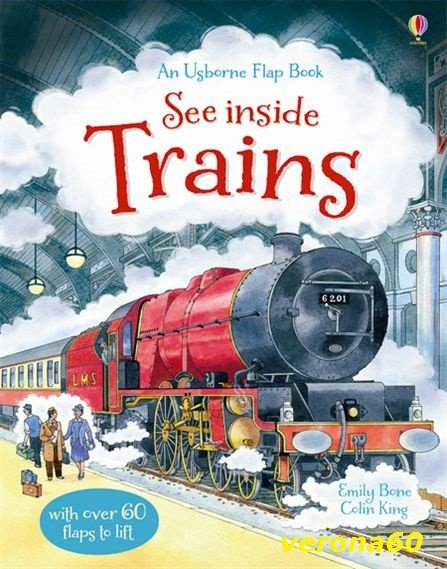 英國 Usborne See inside 翻翻書 Trains 火車 *夏日微風*