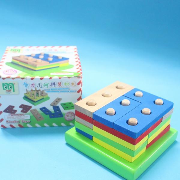 木製益智幾何拼裝 YF9783 智力幾何拼裝積木 兒童啟蒙益智玩具/一盒入{促199}