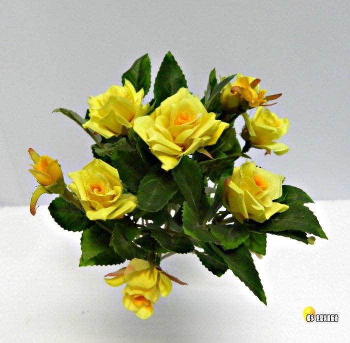 [橘子空間裝置藝術] 黃色 神奇小型玫瑰花花束☆ 人造花.插花配件.居家.店面.櫥窗.玄關.大廳擺飾.園藝資材.用品☆