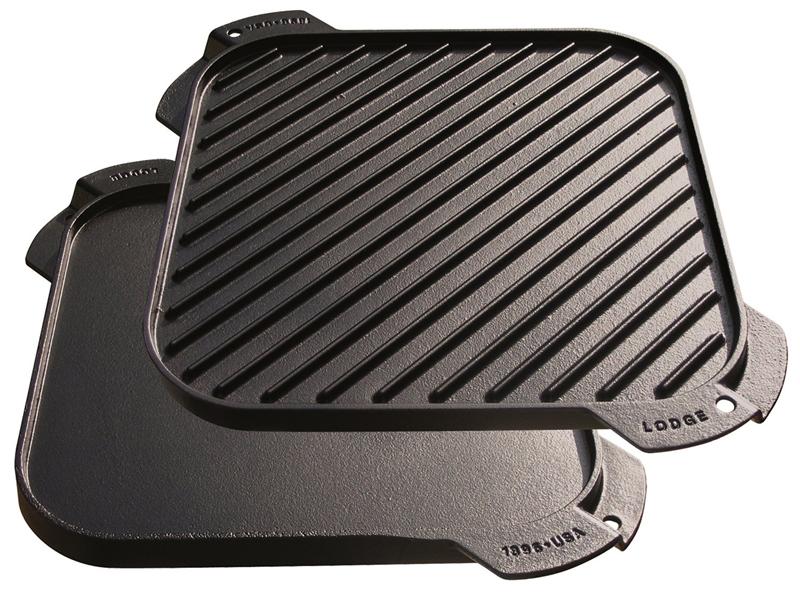 【鄉野情戶外專業】 Lodge |美國|  LODGE 10.5方型煎盤 鑄鐵烤盤 荷蘭鍋雙面鐵板 _LSRG3