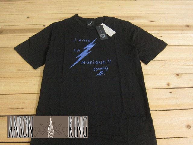 [Anson king]outlet國外代購 agnes b sport b 藍色閃電 字母 短袖 圓領 男款 T恤 黑