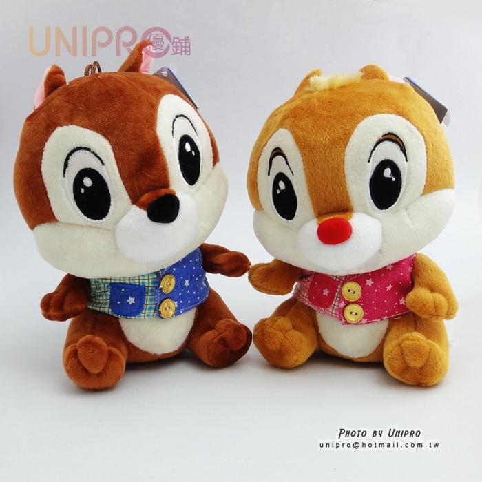 【UNIPRO】迪士尼正版 奇奇蒂蒂 救難小福星 牛仔背心 絨毛玩偶 娃娃 19cm高 花栗鼠禮物