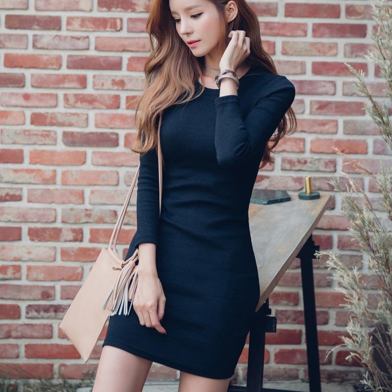 PS Mall 復古酒紅短裙修身顯瘦百搭針織連身裙 洋裝【T4285】