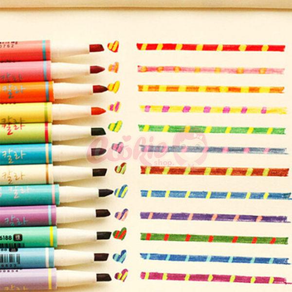 韓國文具 創意塗鴉神器變色雙頭螢光筆 12色【庫奇小舖】