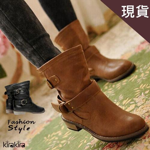 現貨低跟短靴-英倫時尚木質低跟馬汀短靴