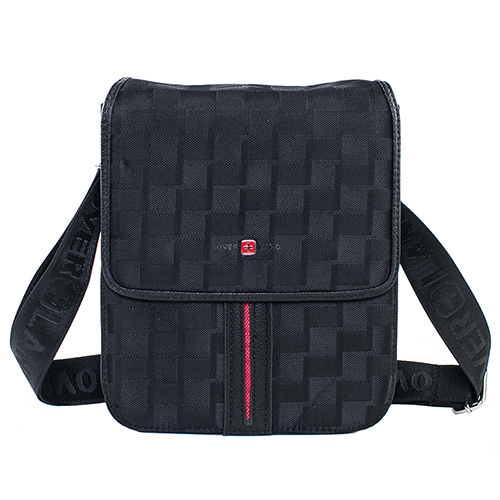【OVERLAND】美式紅線格紋設計直式側背包2926