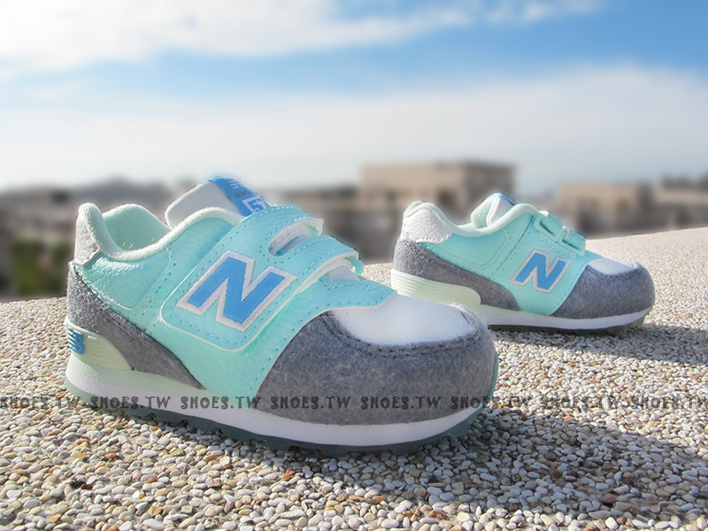 Shoestw【KG574FYI】NEW BALANCE 574 童鞋 運動鞋 小童 淺藍 薄荷綠 灰毛毛