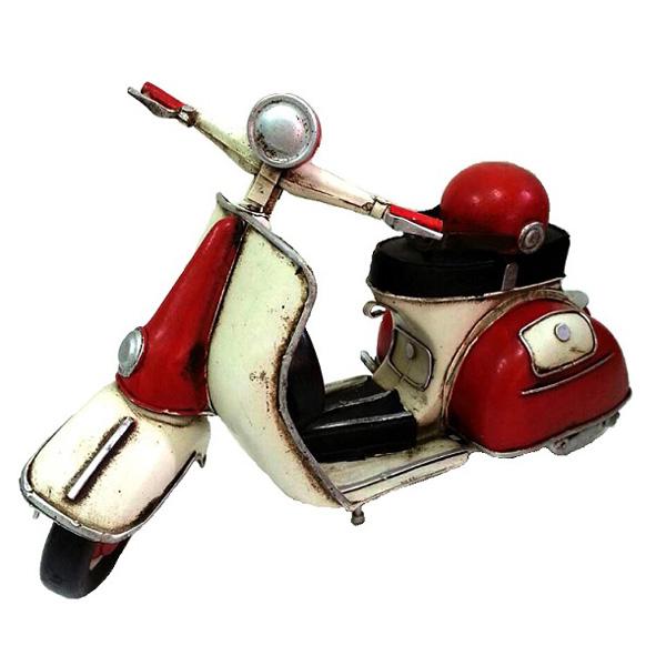 紅色偉士牌 鄉村風 復古風 手工鐵製模型車 環島哈雷重機/腳踏自行車咖啡店裝飾品 民宿/Vespa/經典復古/機車模型