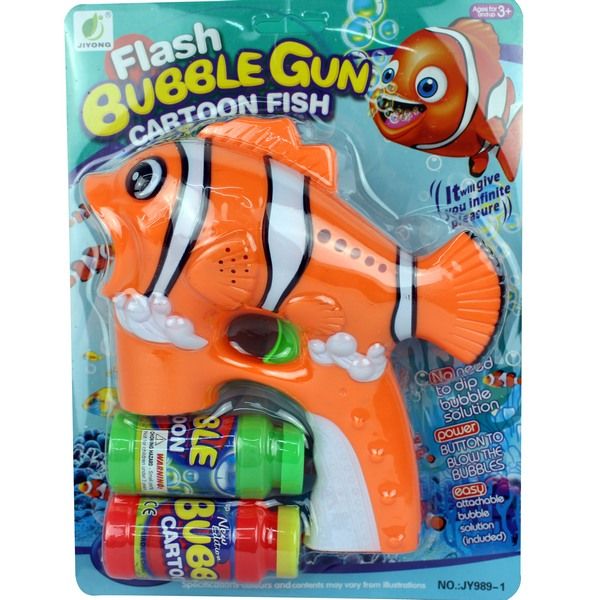 大小丑魚泡泡槍 自動泡泡槍+泡泡水(燈光音樂/附電池)/一支入{定199}吹泡泡機