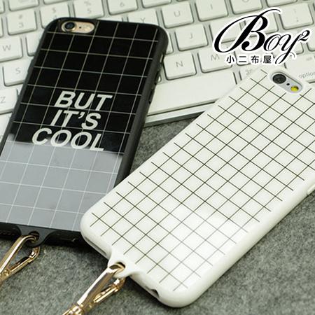 ☆BOY-2☆【N4006】黑白格線掛繩手機保護殼 蘋果iPhone6/6S 6plus