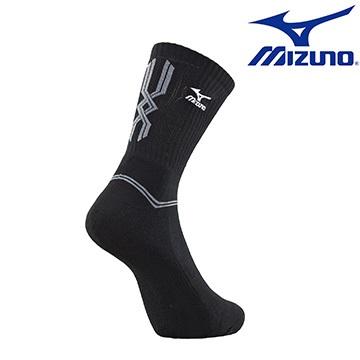 [陽光樂活] MIZUNO 美津濃 基本款男運動厚底中統襪 32TX600791 黑X灰