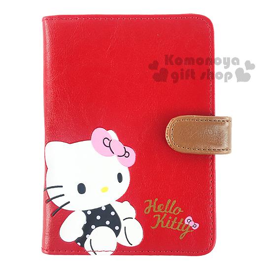 〔小禮堂〕 Hello Kitty 皮革護照套《紅棕.坐姿.黑紫點衣服》旅行用品系列