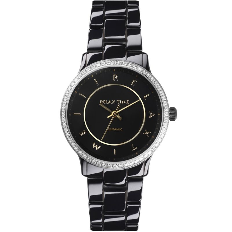 Relax Time  RT-55-10 RT系列迷你纖薄黑陶瓷腕錶/黑面30.5mm