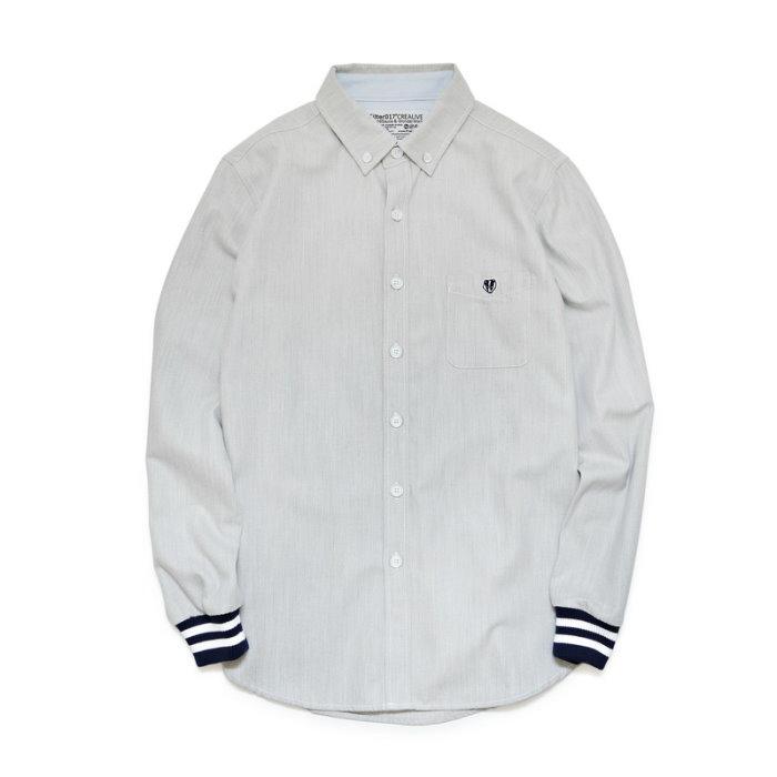 ►法西歐_桃園◄ Filter017 Oxford Rib Shirt 牛津羅紋襯衫 黑白袖口 藍色 灰 長袖 淺灰