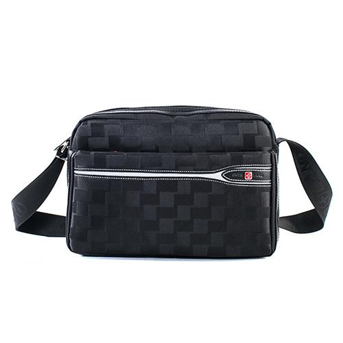 【OVERLAND】美式格紋灰線搭配橫式側背包-3108小