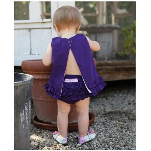 【HELLA 媽咪寶貝】美國 RuffleButts 小女童荷葉屁屁褲/包屁褲_深紫色 Woven (RBRBW03)