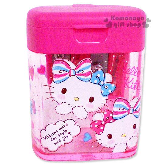 〔小禮堂〕Hello Kitty 日製雙孔削筆器《迷你.粉.雙條紋蝴蝶結.亮片》
