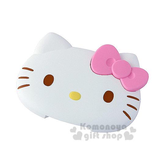 〔小禮堂〕Hello Kitty 造型濕紙巾蓋《白.大臉.粉蝴蝶結》可重複使用