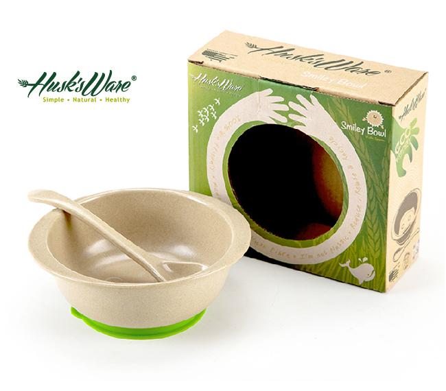 【淘氣寶寶】美國 Husk's ware 兒童小餐碗(附小湯匙)【顏色隨機】【稻殼纖維材質,安全實用 】【保證公司貨●品質有保證】