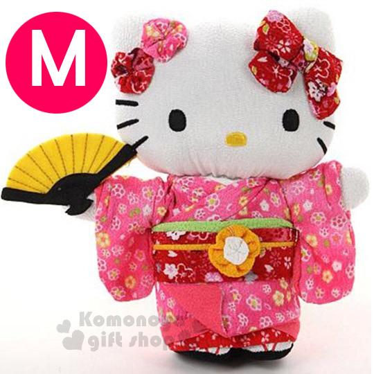 〔小禮堂〕Hello Kitty 造型絨毛玩偶娃娃《M.站姿.粉和服.拿扇》葉朗彩彩
