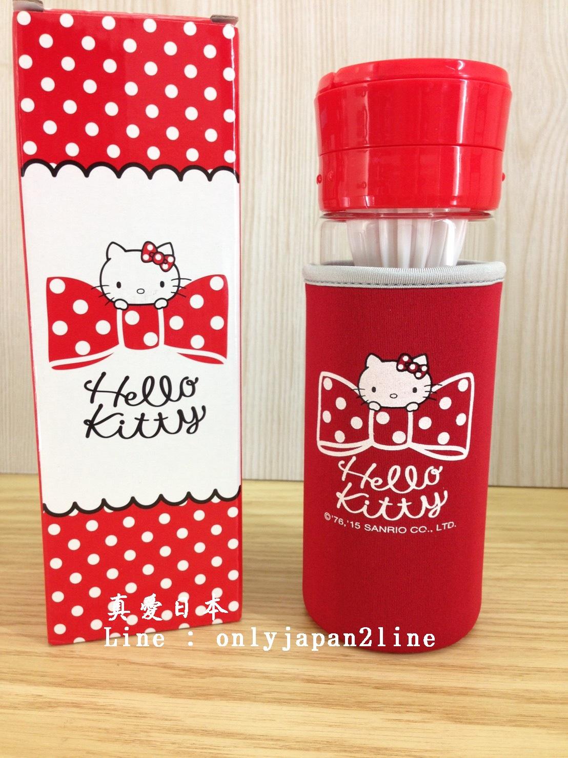 【真愛日本 】16061600039KT榨汁養生瓶含布套  三麗鷗 Hello Kitty 凱蒂貓    水壺 茶壺 水瓶