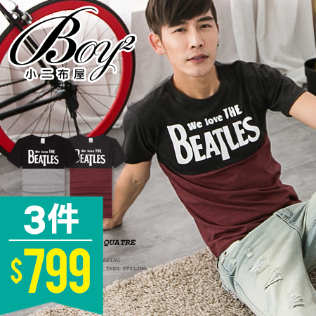 ☆BOY-2☆【JN6947】短袖T恤美式配色拼接BEATLES短T