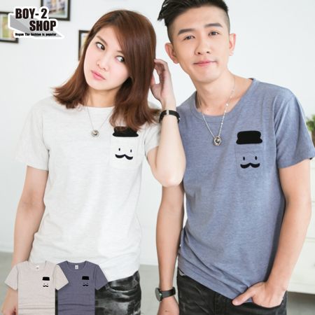 ☆BOY-2☆【JN6700】情侶裝翹鬍子口袋短袖T恤 現+預