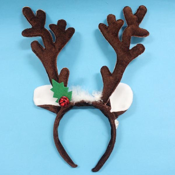 聖誕鹿角頭箍 聖誕髮箍 鹿角髮夾 鹿角頭飾(咖啡色+白羽毛耳朵鈴噹.絨布面)/一個入{促80}可愛麋鹿角 聖誕頭圈~5212.5846