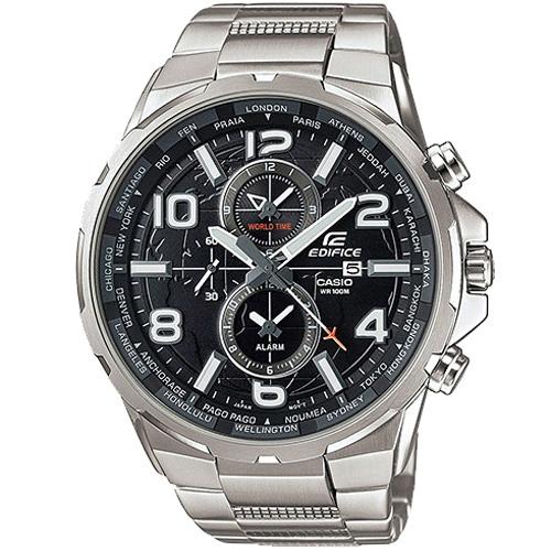 CASIO EDIFICE EFR-302D-1A遨遊世界計時腕錶/黑面50mm