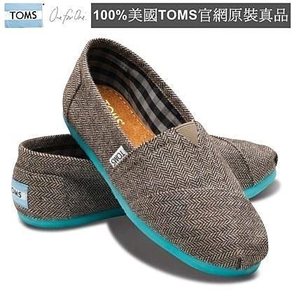 【Cadiz】美國真品正品TOMS 藍底灰面撞色平底鞋 [Teal Pop Herringbone Women's Classics/ 代購/ 現貨]