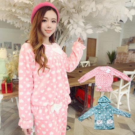法蘭絨 睡衣 (長袖衣+長褲) 粉色愛心 藍色星星 保暖 居家洋裝 長袖褲裝 居家服【N100183】