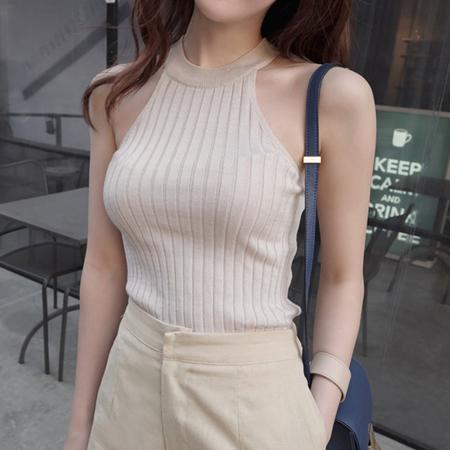 SISI【V6016】百搭顯瘦無袖針織背心削肩螺紋棉T背心針織衫上衣